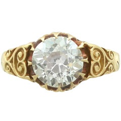 Antique Victorian 2.30 Carat Diamond 18 Karat Yellow Gold Solitaire Ring