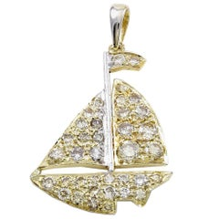 Sailboat Gold and Diamond Charm