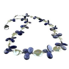 Keshi Pearl and Blue Iolite Briolette Necklace
