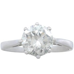 1990s and Contemporary 1.95 Carat Diamond and Platinum Solitaire Ring