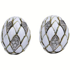 Gold Earrings with White Enamel and Diamonds