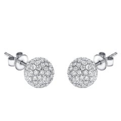 1.75 Carat Round Pave Set Diamond 18 KT White Gold Tresor Ball Stud Earrings
