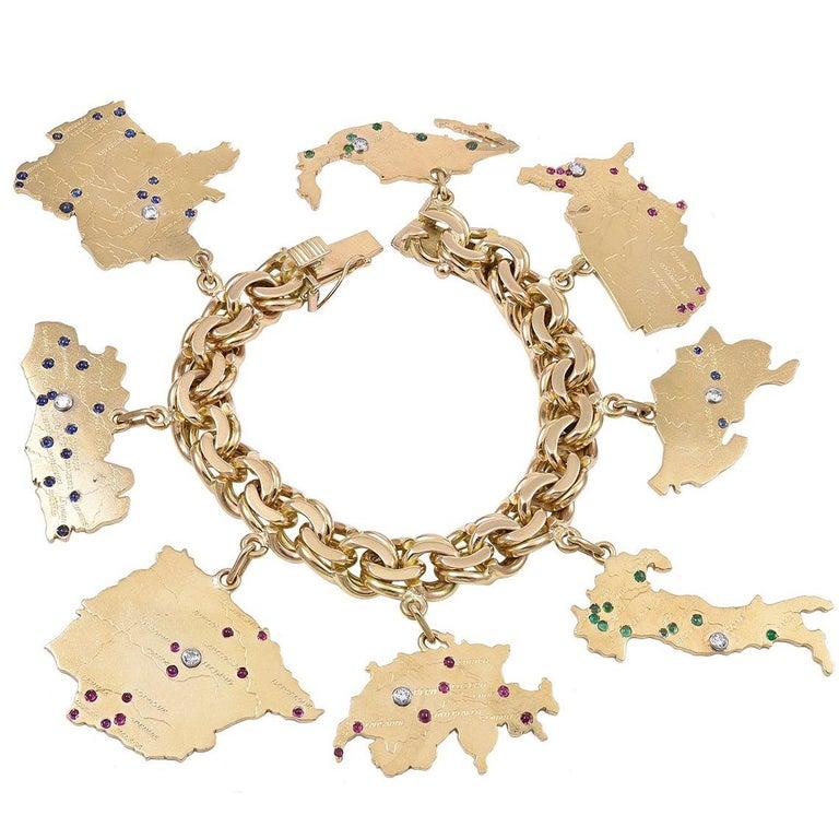 Sensational Gold Gemset Map Charm Bracelet