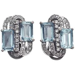 Vintage 7.72 Carat Aquamarine and 1.18 Carat Diamond Gold Earrings