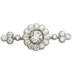 4.47Ct Diamond and 14k White Gold Bar Brooch - Antique Victorian