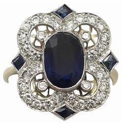 1970s 3.20 Carat Sapphire Diamond Gold Dress Ring