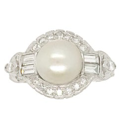 Vintage Pearl and Diamond Ring Set in 14 Karat White Gold and Platinum