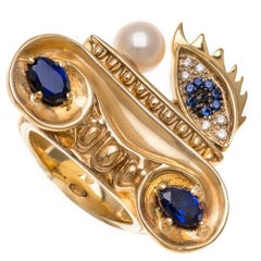 DELFINA DELETTREZ White Diamond Sapphire Pearl 18 Karat Gold Cocktail Ring
