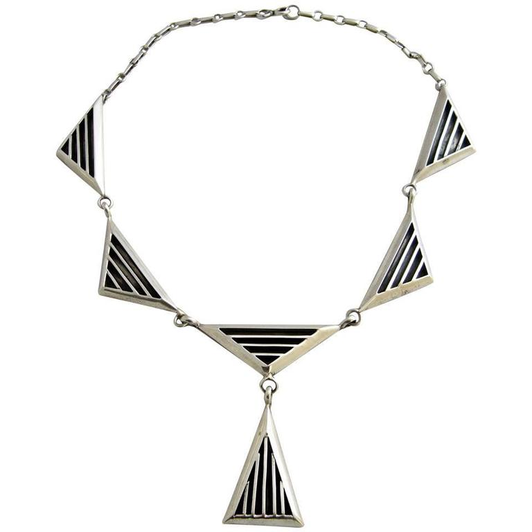 Jack Nutting Sterling Silver Geometric American Modernist Necklace For Sale