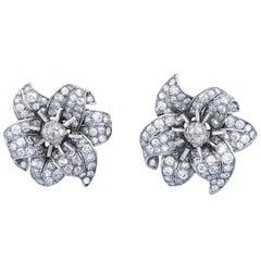 Jul.Hügler Art Deco Diamond Platinum Flower Ear Clips Earrings