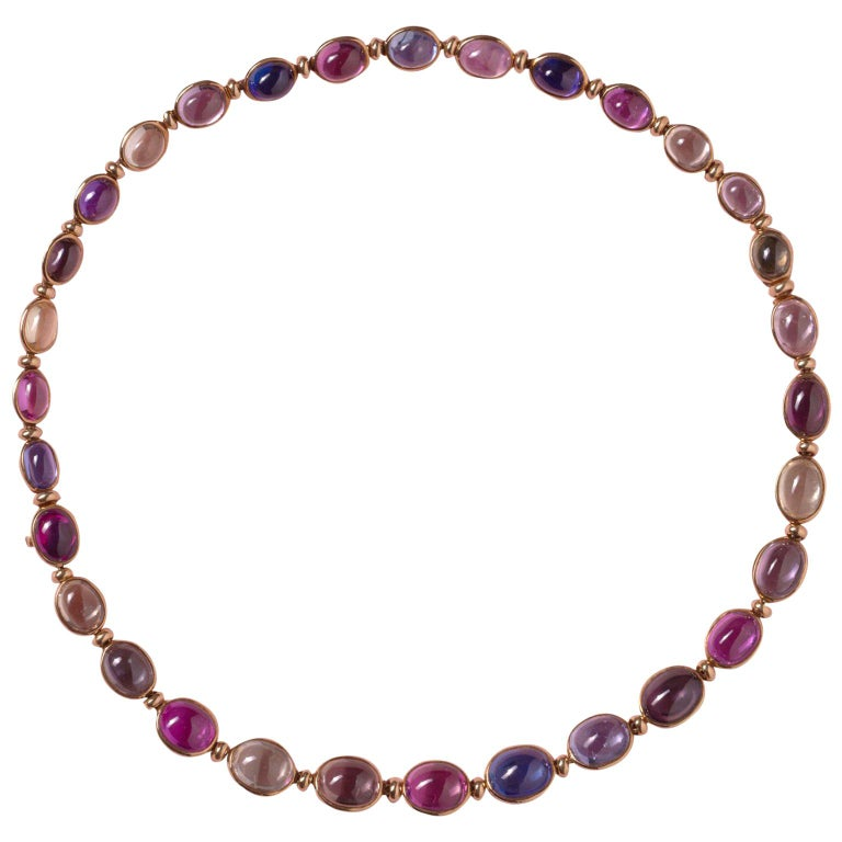 Bulgari Gold Necklace or Bracelets with Colored Sapphires For Sale