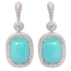Turquoise and Diamond Earrings in 18 Karat White Gold