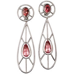 9.96 Ct Neon Pink Spinel White Diamond Platinum Chandelier Stud Earrings