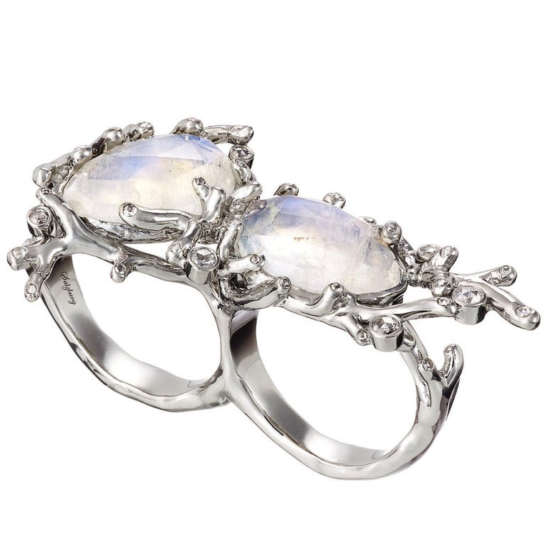 Aenea Palladium Ring Double with Moonstone and Diamonds For Sale