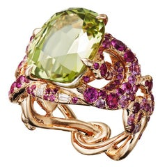 "Aenea ""Sarpa"" Ring Four Snakes, Chysoberyll and Pink Sapphires"