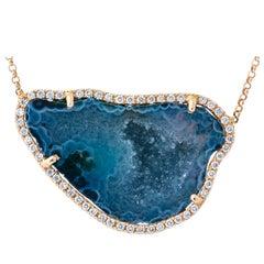 Karolin Rose Gold White Diamond Pendant White Agate Necklace
