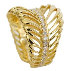 Coralie Van Caloen 18 Karat Yellow Gold Feather with Diamonds Band Ring