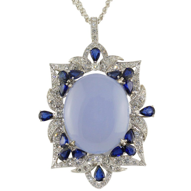White Diamonds Blue Sapphires Chalcedony White Gold Pendant Necklace For Sale