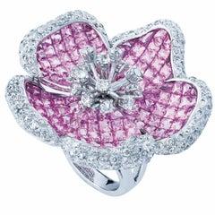 Diamond-Pink Sapphires 18karat white gold Flower Cocktail Ring