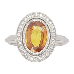 4.46 Carat Orange Sapphire and Diamond Ring Set in Custom 14 Karat Gold Setting
