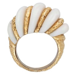 Van Cleef & Arpels White Coral and Gold Ring, French