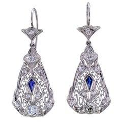 Art Deco Diamond Filigree Pendent Dangling Earrings