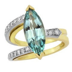 Aquamarine and Diamond Ring in 18 Carat Yellow and 18 Carat White Gold
