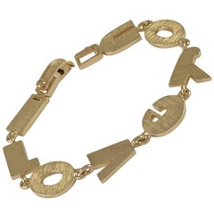 I LOVE YOU Textured Gold Bracelet