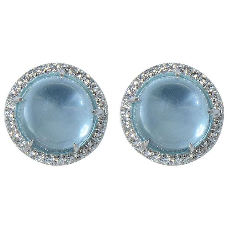 Earrings Margherita Burgener 18 Karat W Gold Blue Topaz Cabochon Diamond Italy