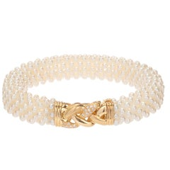 Freshwater Pearl Diamond Yellow Gold Multi Strand Bracelet