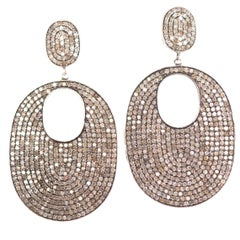 12 Carat Total Weight Diamond and Sterling Silver Dangle Earrings