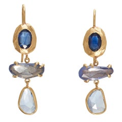18 Karat Gold Blue Sapphire Drop Earrings
