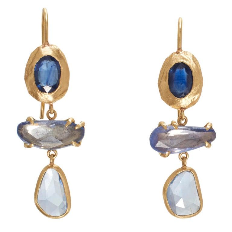 18 Karat Gold Blue Sapphire Drop Earrings