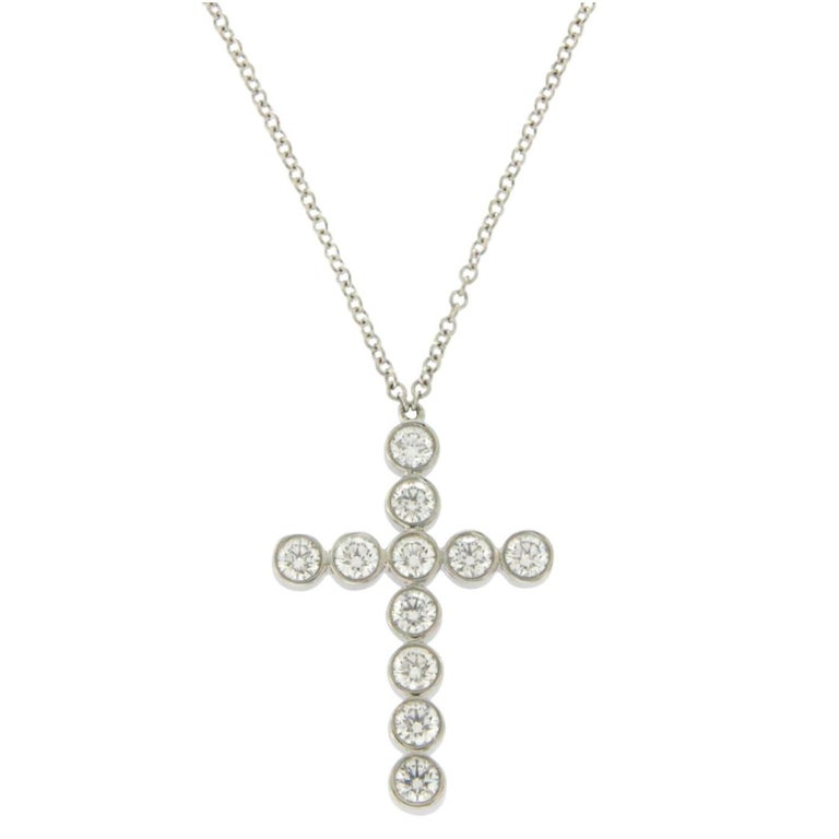 Tiffany & Co. 950 Platinum 0.55 Carat Diamonds Cross Necklace