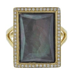 Ippolita Gelato Black Shell Diamond Quartz Gold Ring