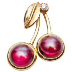 Rhodolite Garnet and Diamond Cherry Pendant
