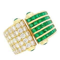 Emerald and Diamond Open Ring, 18 Karat Yellow Gold