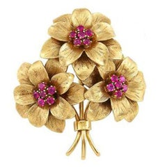 Tiffany & Co. Ruby and Gold Floral Bouquet Brooch