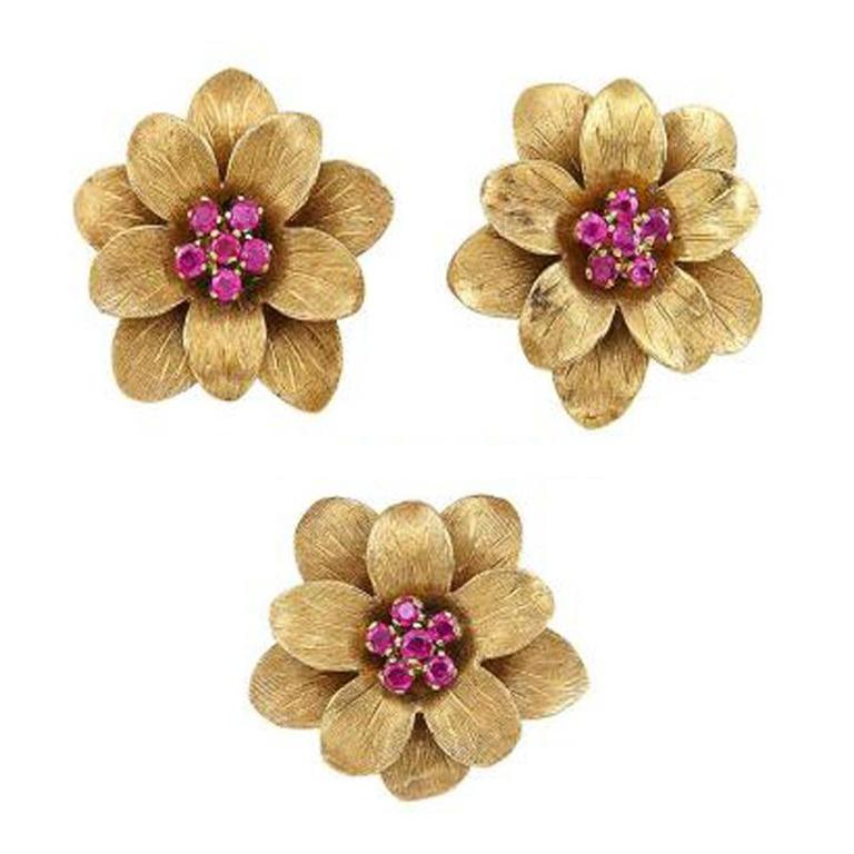 Tiffany & Co. Ruby and Gold Floral Earrings and Single Earclip For Sale