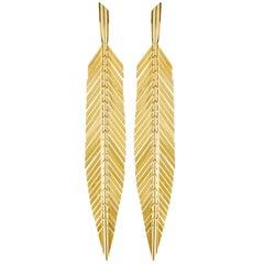 CADAR Feather Drop Earrings, 18K Yellow Gold - Medium