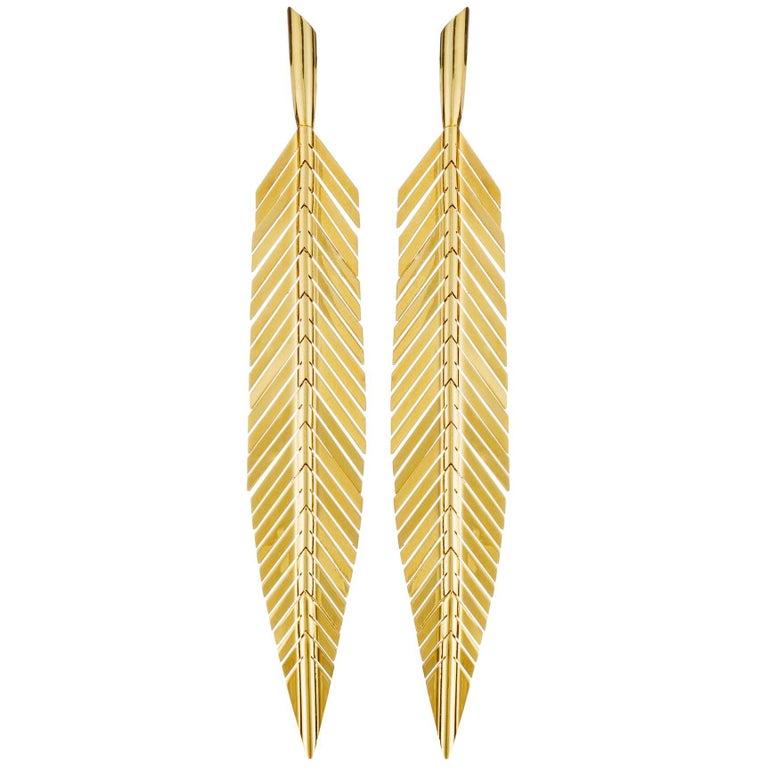 Cadar Feather Drop Earrings 18k Yellow Gold Medium For