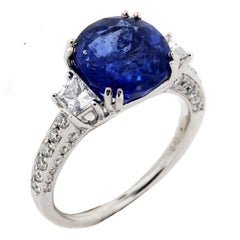 5.40 Carat Blue Sapphire EGL Certified Ring with Gold and Diamonds