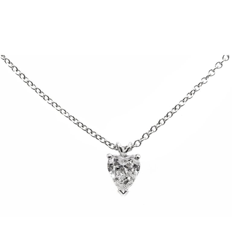 1.01 Carat GIA Certified D VVS2 Heart Shape Diamond Platinum Pendant