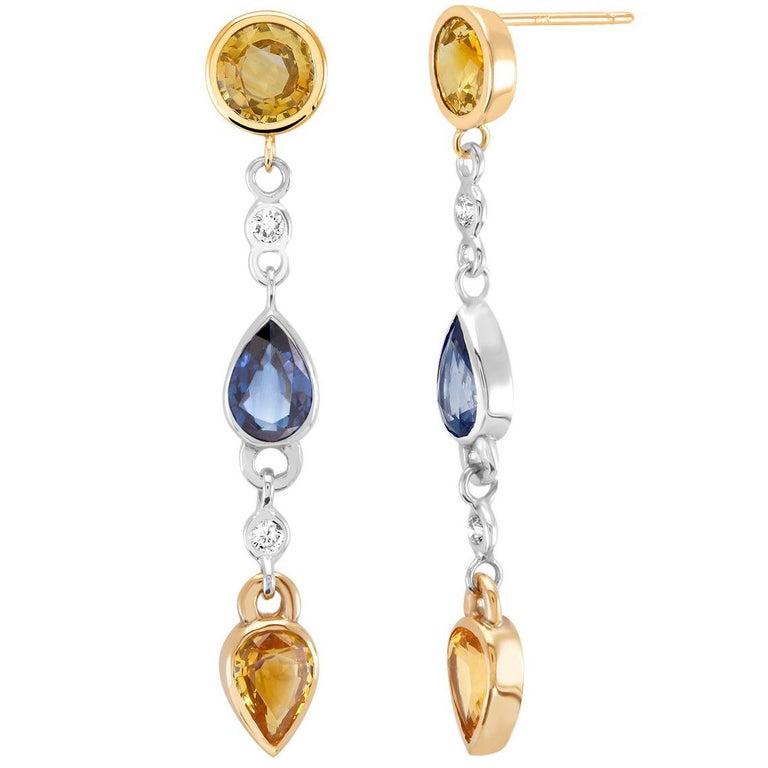Yellow Blue Sapphires Drop Diamond Earrings For Sale
