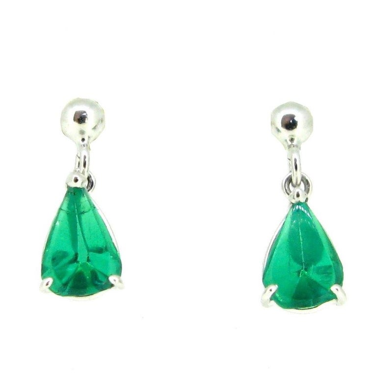 Pear Shape Colombian Emerald White Gold Studs Earrings For