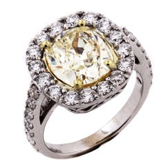 3.12 Carat Fancy Light Yellow Diamond White Gold Ring