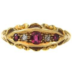 Victorian Ruby Diamond 18 Karat Gold Ring