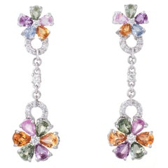 Forget Me Not Earrings Rainbow Sapphire Diamond Vintage 18 Karat White Gold