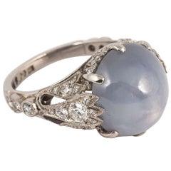 Edwardian Star Sapphire Diamond Platinum Ring, circa 1920