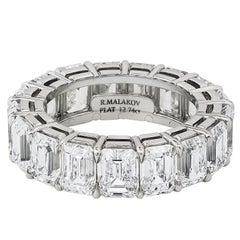12.74 Carat Emerald Cut Diamond Eternity Wedding Band